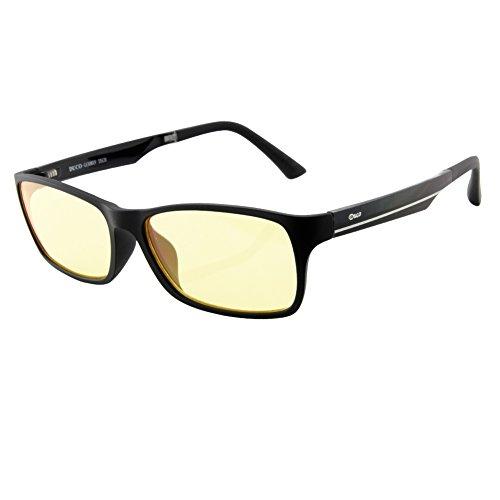 Duco volle Randbrille ergonomisches Design Computer Gaming mit gelb getönten Gläsern Blaulicht-Schutz Bildschirmbrille 223 schwarz - 1
